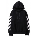 Cool Girls' Long Sleeve Drawstring Stripe Printed Letter Kangaroo Pocket Baggy BF Korean Hoodie