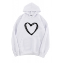 Cool Street Long Sleeve Hooded Heart Printed Kangaroo Pocket Baggy Hoodie for Girls