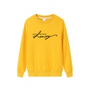 Casual Women's Basic Long Sleeve Crew Neck Letter JUST THE WAY YOU ARE HONEY Print Relaxed Sweatshirt