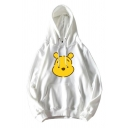 Korean Girls' Long Sleeve Drawstring Winnie The Pooh Pattern Kangaroo Pocket Hoodie