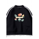 Black Stylish Letter LITTLE FLOWERS Print Striped Long Sleeve Cropped Sweatshirt