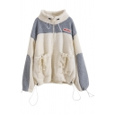 Thickened White Blouson Sleeve Stand Collar Zip Front Drawstring Contrasted Pockets Sherpa Fleece Oversize Midi Coat for Women