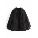 Women's Vintage Warm Blouson Sleeve Lapel Collar Button Down Flap Pockets Sherpa Baggy Coat in Black