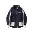 Cool Girls' Balloon Sleeve Stand Collar Contrast Piped Flap Pockets Patched Zip Front Boxy Down Coat in Navy