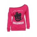 Trendy Street Long Sleeve Drop Shoulder Letter PATY PATY HALLOWEEN Cat Pumpkin Printed Loose Pullover Sweatshirt for Ladies
