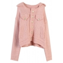 Girls' Cute Pink Long Sleeve Lapel Neck Button Down Pockets Side Chunky Knit Relaxed Cardigan