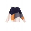 Navy Fashion Long Sleeve Crew Neck Patched Contrasted Chunky Knit Loose Fit Pullover Sweater Top for Women
