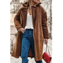 Cool Fashion Long Sleeve Notch Collar Sherpa Fleece Oversize Long Plain Open Front Coat for Women