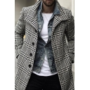 Fall Stylish Black Plaid Pattern Long Sleeve Single Breasted Trench Coat Longline Wool Coat