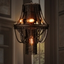 4-Light Chandelier Pendant Industrial Bike Chain Iron Ceiling Light Fixture in Black