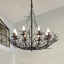 8-Light Metallic Chandelier Lamp Vintage Black Nest Shape Hanging Ceiling Pendant