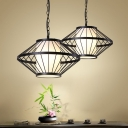 Black 1 Bulb Hanging Lamp Traditional Iron Lantern Cage Ceiling Pendant Light, 16