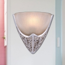 Silver Triangle Shape Wall Light Fixture Vintage Style Iron and Frosted Glass 1 Light Bedroom Sconce Lamp
