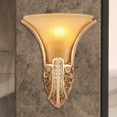 Bell Yellow/Opal Glass Wall Sconce Lighting Vintage Style 1 Light Bedroom Wall Lighting in Silver/Gold/White and Gold
