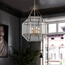 3 Bulbs Chandelier Light Fixture Colonialist Kitchen Hanging Lamp with Geometric Clear Glass
