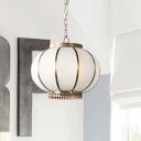 3/6 Lights Chandelier Pendant Light Colonial Lantern White Glass Suspension Lamp for Bedroom, 16