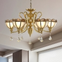 Gold 6 Bulbs Hanging Chandelier Colonialist Frosted Glass Hemisphere Ceiling Pendant Light with Triangle Crystal Drop