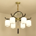 White Glass Black and Gold Pendant Chandelier Lantern 6/8/10 Lights Traditional Ceiling Hang Fixture for Living Room