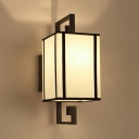 1 Head Wall Light Sconce Traditional Living Room Wall Lighting Fixture with Rectangle White Fabric Shade