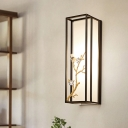 Rectangle Bedroom Wall Sconce Light Traditional Metal 1 Head Black Wall Lighting Fixture