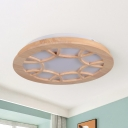 Simple Clock Shaped Wood Flush Mount Lighting Led Flush Ceiling Light Fixture In Beige Beautifulhalo Com