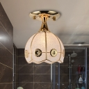 1 Bulb Globe/Dome/Drum Ceiling Flush Mount Traditional Gold Bubble Glass Semi Mount Lighting for Bedroom