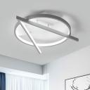 Gray V-Shape Ceiling Mount Light Fixture Simple Acrylic LED Flush Light in Warm/White Light, 16.5