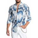 Mens Casual Street Color Block Pattern Long Sleeve Turndown Collar Button Up Shirt
