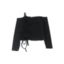 Edgy Girls' Long Sleeve Off The Shoulder Drawstring Slim Fit Plain Crop T Shirt