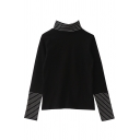 Trendy Girls' Long Sleeve Turtleneck Stripe Print False Two-Piece Loose Fit Tee