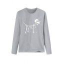 Cool Casual Long Sleeve Crew Neck Skull Dog Printed Loose Fit T Shirt for Girls