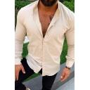 Mens Simple Whole Colored Long Sleeve Button Placket Slim Fit Linen Shirt