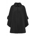 Unique Trendy Women's Long Sleeve Stand Collar Button Fluff Trim Plain Oversize Wool Coat Cape