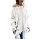 Popular Women's Long Sleeve Drop Shoulder Zipper Side Waffle Knit Patched Asymmetric Oversize Plain Pullover Sweater