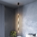 Tube Metal Pendant Lighting Modern Black LED Hanging Ceiling Lamp for Bedroom in White/Warm Light