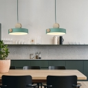 Green Round Suspension Lamp Minimalist 1 Light Metal Hanging Pendant Light for Dining Room