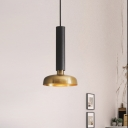 1 Light Dining Room Pendulum Light Contemporary Black/White Hanging Lamp with Barn Metal Shade