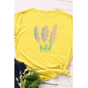 Trendy Women's Roll Up Sleeve Crew Neck Feather Print Letter TEIHAL Loose Fit Tee