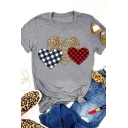 Women Casual Cozy Roll Tab Sleeve Crew Neck Plaid Leopard Heart Pattern Relaxed Tee in Grey