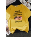 Preppy Looks Short Sleeve Crew Neck Letter MAKES YOUR LIFE DELIGHTED SEE YOU Cartoon Print Relaxed Tee for Girls