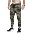 Mens Active Camo Printed Side Pocket Slim Fit Breathable Sports Pants