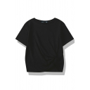 Trendy Plain Short Sleeve Crew Neck Twist Front Loose Fit Tee for Girls