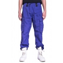 Mens Stylish Plain Drawstring Waist Multi-Pocket Straight Fit Cargo Pants