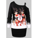 Cute Fashion Long Sleeve Asymmetric Neck Santa Claus and Reindeer Printed Contrasted Short Sheath Christmas T-Shirt Dress for Girls