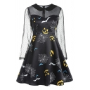 Cool Girls' Long Sleeve Peter Pan Collar Zipper Back All Over Halloween Pattern Polka Dot Sheer Mesh Patched Midi Pleated Flared Dress in Black