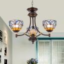 Bowl Chandelier Lighting 3/5/6 Bulbs White/Clear Glass Tiffany Pendant Light for Living Room