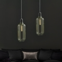 1 Light Drum/Tube Pendant Lamp Modern Glass Shade Hanging Light with Marble Cap