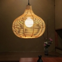 1 Light Dining Room Hanging Lamp Contemporary Beige Ceiling Light with Teardrop Bamboo Shade