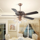 Rust Floral Ceiling Fan Retro Opal White Glass 5 Heads Dining Room Semi Flush Mount Light