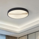 Black Disk Ceiling Light Fixture Simple Metal LED Flush Mount Light Fixture in Warm/White Light